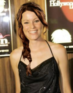 Elizabeth Banks as Effie Trinket with Katniss Everdeen braid