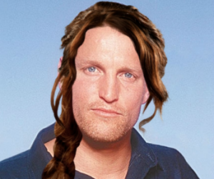 Woody Harrelson as Haymitch Abernathy with Katniss Everdeen braid