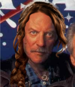 Donald Sutherland as President Snow with Katniss Everdeen braid