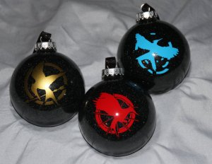 3 pack Hunger Games Christmas Glitter Ornaments by TreeBaublez