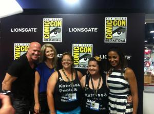 Bruno Gunn, Stephanie Leigh Schlund, Courtney Custodio, Tiffany (Twiffidy) Gustanski, and Meta Golding. Photo courtesy of Welcome to District 12.