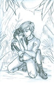 """Peeta holds me on his lap, speaking soothing words, rocking me gently."""