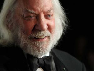 Creepy Santa-- I mean Donald Sutherland as President Coriolanus Snow