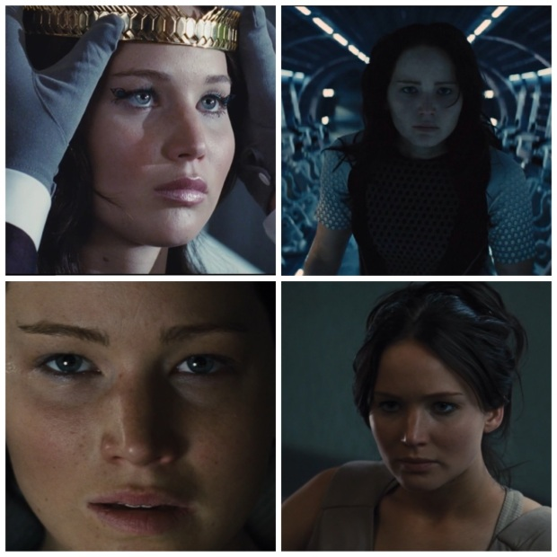 Just four of the many Katniss facial expressions that we love.